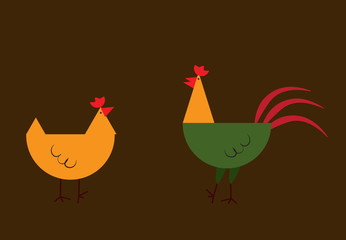 Cute beige and red cock and chicken. Farm animal. Cartoon home pet. Isolated on white background.