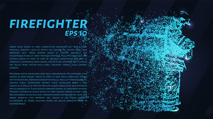 Firefighter. A grid of blue stars in the night sky. Points of light create the figure of the fireman. Fire, danger, protection and other concepts illustration or background.