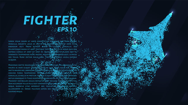 Fighter. A grid of blue stars in the night sky. Points of light create the shape of the fighter. Airplane, army, aviation, air and other concepts illustration or background.