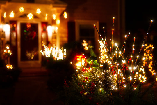 blurred Christmas background. shining Christmas decorations outside the house