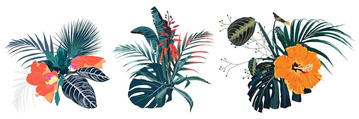 Tropical summer bouquet with palm leaves and exotic flowers. Orange flowers composition isolated on white background. Wall mural