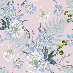 Spring summer blue forget-me-not flowers with herbs, fern seamless pattern. Watercolor style floral background for invitation, fabric, wallpaper, print. Botanical texture. Beige background.