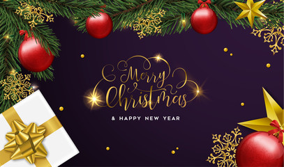 Christmas and Happy New Year card of gifts and ornaments