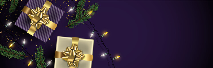 Christmas purple banner background of gold gifts