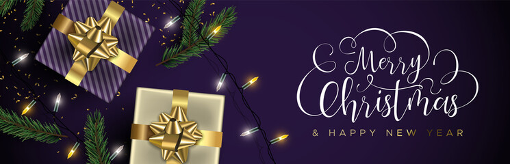 Christmas and New Year purple banner of gold gifts