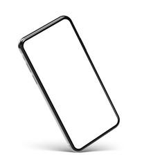 Smartphone frameless blank screen on corner