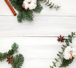 White Christmas, New Year festive frame. Top view border. Copy space