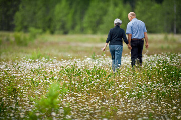 Mature couple walking through a field of flowers hand in hand