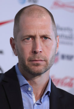 Gregg Berhalter, the new head coach of the U.S. Men's National Soccer Team listens to a question during a news conference in New York City, New York