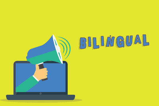 Word writing text Bilingual. Business concept for speaking two languages fluently or more work as translator Hu analysis Hand Coming out of PC Monitor Holding Megaphone with Volume Icon