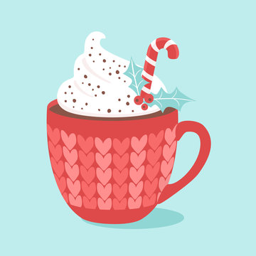 Christmas Hot chocolate with cream and candy cane. Vector illustrations