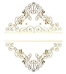 金属の質感のバロック調のオーナメント・飾り罫・飾り囲み(ゴールド)|Baroque ornament
