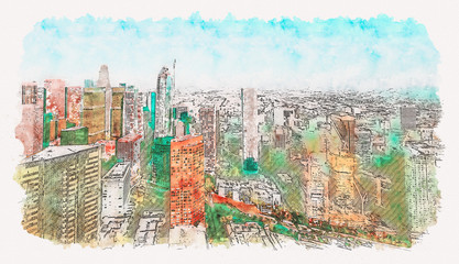 Aerial view of a Downtown Los Angeles watercolor painting