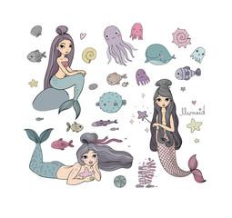 Set with cute cartoon mermaids. Marine theme.