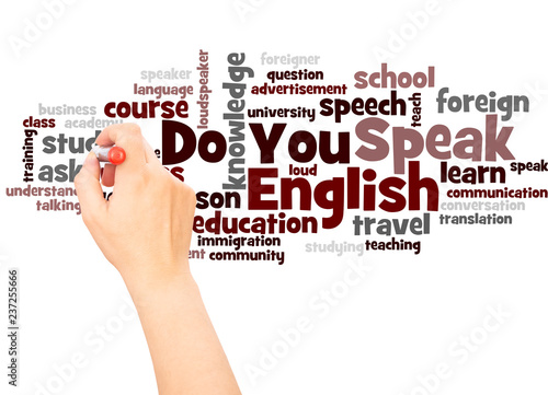 Do You Speak English word cloud hand writing concept