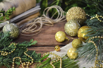 Christmas decoration with fur tree branches,  jute rope and sackcloth
