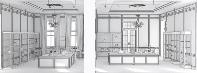 museum, exhibition hall, interior visualization, 3D illustration