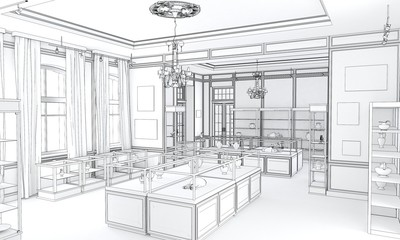 museum, exhibition hall, interior visualization, 3D illustration