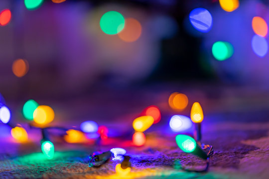 Blurred Bokeh Effect with Christmas Lights - Background Graphic