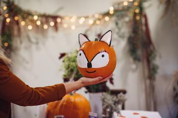 Preparing Halloween celebration.