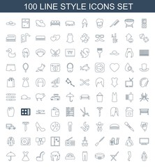 style icons. Set of 100 line style icons included overcoat, tights, outdoor chair, belt, pants, protractor on white background. Editable style icons for web, mobile and infographics.