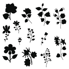 Set of flower silhouettes