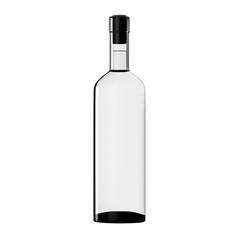 Wine Bordo Bottle White Glass Mockup Isolated