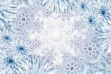 Greeting card for the new year. Blue snowflakes on a white background. Floral christmas background.
