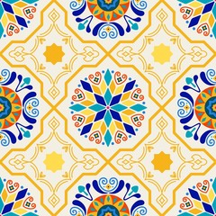 Tuinposter Marokkaanse Tegels Seamless Vector Modern Moorish Geometric Spanish Moroccan Ceramic Floor Tile Shapes in Butter Yellow & Royal Blue