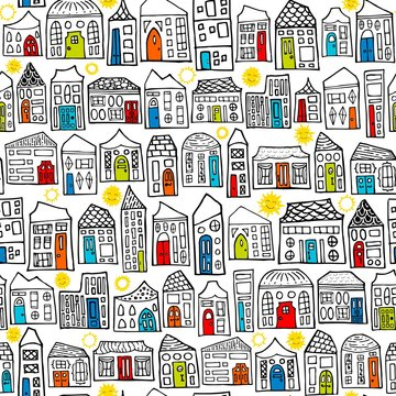 Seamless Vector Happy City Sunny Neighborhood Coloring Book Pattern in Black, White, & Colored Doors
