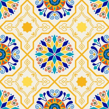 Seamless Vector Modern Moorish Geometric Spanish Moroccan Ceramic Floor Tile Shapes in Butter Yellow & Royal Blue