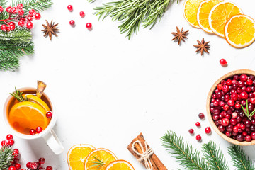 Christmas food or drink background on white flatlay.