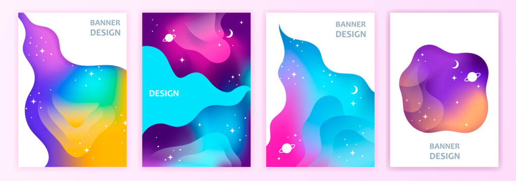 space. abstract gradient banner vector set. EPS 10. cosmic colorful background. Gradient mesh