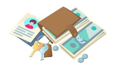 Vector item_Objects lie a bundle of money, documents, keys