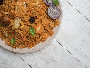 Chicken Kabsa it is a traditional Arabian food. Close up.