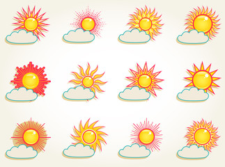 Sun in the sky icons set