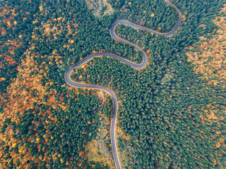 Winding road from mountain pass, in autumn season, with green and orange forest. Aerial view by drone. Romania