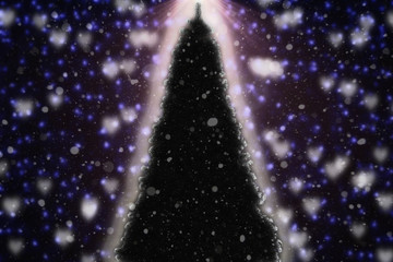Christmas tree with some snow and blured background with bokeh in lights. Greeting card background with empty copy space for Editor's text