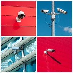 set of security camera in various situation