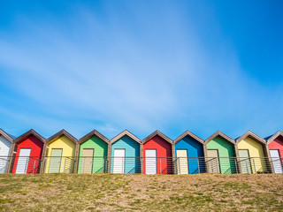 Colourful Beach Huts At Blyth, Northumberland