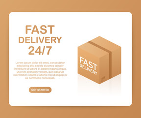 Web banner for Fast Delivery 24 7 and E-Commerce. Flat elements isolated illustration