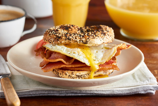 Bacon and Egg Sandwich on Bagel