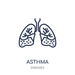 Asthma icon. Asthma linear symbol design from Diseases collection.