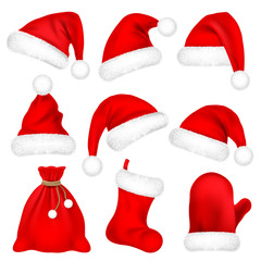 Christmas Santa Claus Hats With Fur Set, Mitten, Bag, Sock. New Year Red Hat Isolated on White Background. Winter Cap. Vector illustration.