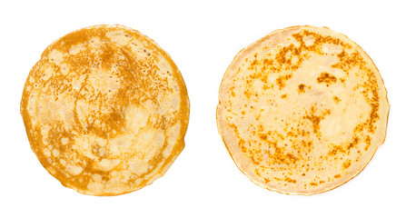 homemade russian pancake isolated on white background, close-up, top view