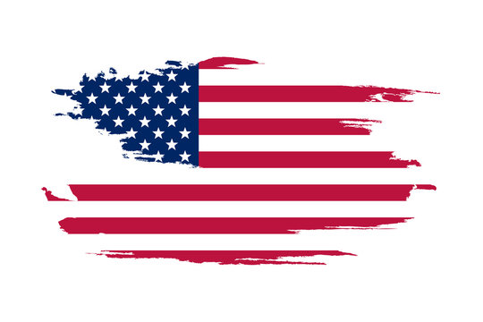 American flag. Brush painted flag of USA. Hand drawn style illustration with a grunge effect and watercolor. American flag with grunge texture. Vector illustration.
