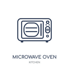 Microwave oven icon. Microwave oven linear symbol design from Kitchen collection.