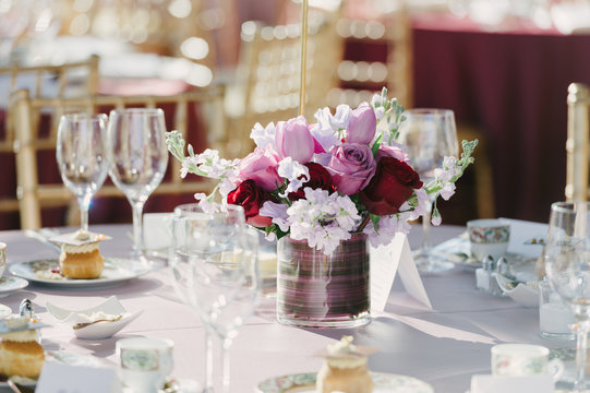 Elegant Floral Arrangement on a Party Table