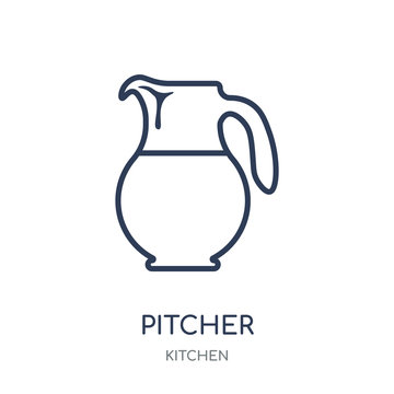 Pitcher icon. Pitcher linear symbol design from Kitchen collection.