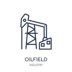 Oilfield icon. Oilfield linear symbol design from Industry collection.